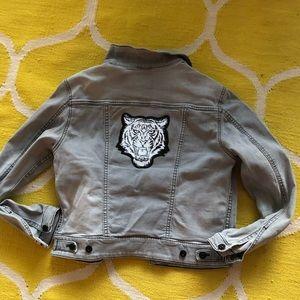 Lion detail denim jacket dark gray